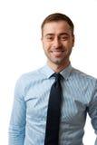 Varón sonriente feliz del negocio maduro en blanco Imagenes de archivo