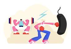 Var?n y caracteres femeninos que ejercitan en gimnasio Ocupaci?n del hombre fuerte con el peso, saco de arena del boxeo de la muj libre illustration