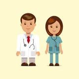 Varón y hembra en doctores de la ropa Foto de archivo