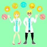 varón y proveedor de asistencia sanitaria de sexo femenino del doctor médicos con la forma de vida sana infographic para el hospi stock de ilustración