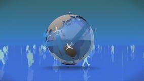 Varón y siluetas femeninas alrededor de un globo giratorio ilustración del vector