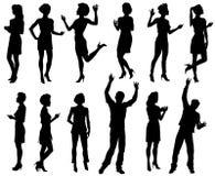 Varón y siluetas femeninas, sistema de la gente ilustración del vector
