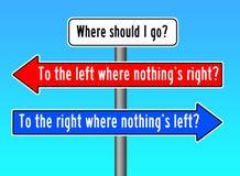 Var att gå vänster rätt stock illustrationer