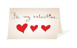 var det handskrivna meddelandet min paper valentin stock illustrationer