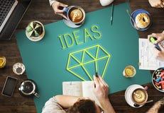 Var det idérika nya begreppet för fantasiinnovationdiagrammet arkivbilder