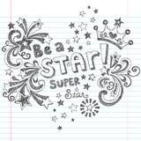 Var för skolaklotter för stjärna en Sketchy design för vektor vektor illustrationer