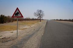Var försiktig på grund av elefanter Fotografering för Bildbyråer