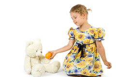var flickan little som är orange Royaltyfri Fotografi