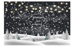 var kan planlägga den din använda vintern för illustrationligganden natten Snödrivor, träd, girlander, fallande snö också vektor  stock illustrationer