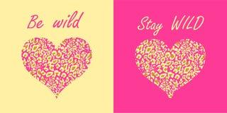 Var lös och bli lösa bokstäver- och hjärtaformer med leopardtryckvariation på rosa och sand-färgad bakgrund för Tshirtfash vektor illustrationer