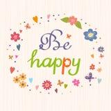Var lycklig Ljus och stilfull vektortext på en remsabakgrund Fotografering för Bildbyråer