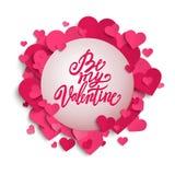 Var min för borstepennan för valentin handskrivna bokstäver på banret med rosa hjärtor, valentins dag, Royaltyfri Bild