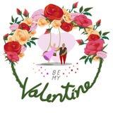 Var min valentin för kort för dag för valentin` s vektor illustrationer