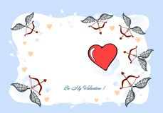 Var min valentin, valentinkortet, vykort En valentindagillustration - jag älskar DIG, original- planlagd hand-teckning vektor illustrationer