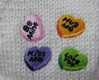 Var minen, krama mig, kyssa mig, och jag älskar dig broderier Royaltyfri Fotografi