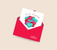 var mitt kort för valentindaghälsningen med kuvertballonger Royaltyfria Bilder
