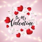 Var mitt valentinhälsningbaner med hjärtor 3d och realistiska lysande girlander Lyckligt kort för dag för valentin` s med hjärta royaltyfri illustrationer