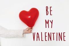 Var mitt valentintexttecken Lyckligt begrepp för dag för valentin` s HandH arkivbild