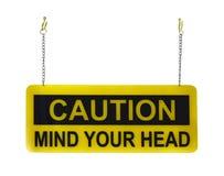 Vara besvärad ditt head varningstecken, på vit bakgrund Arkivfoton