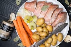 Vara de mar cru, com especiarias dos peixes, cenoura, batatas, pimenta, cebola, folha de louro, aipo no fundo escuro Alimento sau Fotografia de Stock