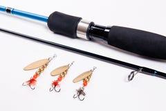 Vara de pesca isolada no branco Imagem de Stock Royalty Free