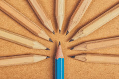 Vara det olika begreppet med trä ritar på skrivbordet Royaltyfria Foton