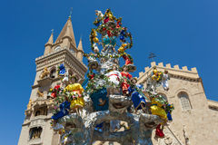 Vara di Messina. Statues that ornate traditional Messina feast, Vara di Messina, celebrated on the 15th of August Stock Photo