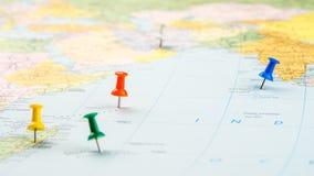 Vara do percevejo no mapa real, Imagens de Stock