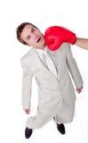 vara hit för boxningaffärsmanhandske arkivfoto