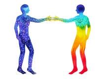 Vara hjärnan bakom chakramakt, abstrakt tanke för inspiration tillsammans, världsuniversum inom din mening Arkivbild
