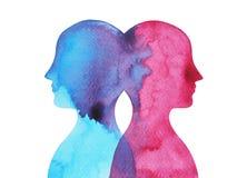 Vara hjärnan bakom chakramakt, abstrakt tanke för inspiration tillsammans, vattenfärgmålning stock illustrationer