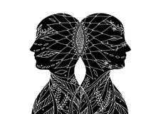 Vara hjärnan bakom chakramakt, abstrakt tanke tillsammans, världen, universum inom din mening, vektor stock illustrationer