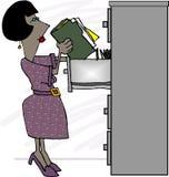 vara kontorist kvinnligmappen royaltyfri illustrationer
