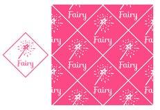 Vara mágica de hadas del vector Modelo de repetición inconsútil aislado en fondo rosado Diseño moderno para las muchachas Fotos de archivo libres de regalías