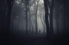 Vara spökskrivare i en mörk läskig mystisk skog på allhelgonaafton Arkivfoton
