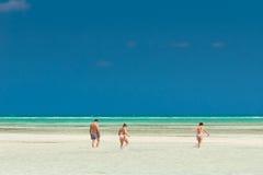 Varadero beach. Varadero, Cuba, February 21, 2005. Bathers on the beautiful Cuban resort of Varadero Stock Photo