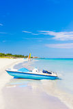 Varadero beach in Cuba with a paddle boat Royalty Free Stock Photos