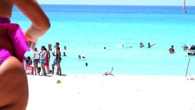 Varadero Beach in Matanzas, Cuba. Varadero beach in Cuba featuring clear blue water and white sand, the beach is a tourist landmark, destination or attraction stock video footage