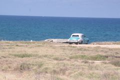 Varadero car's View. One oldie car on the road Royalty Free Stock Photography