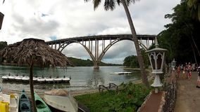 VARADERO, CUBA - DECEMBER 23, 2011: High bridge over river. In jungle stock video