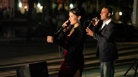 VARADERO, CUBA - DECEMBER 23, 2011: Music band outdoors stock video footage