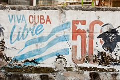 VARADERO, CUBA - DECEMBER 23, 2011: Viva Cuba Libre graffiti. In a city stock image