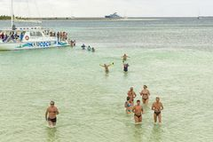 VARADERO, CUBA - JANUARY 06, 2018: People in cold water leave th Stock Image