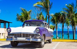 American blue white 1956 vintage car parked direct on the beach in Havana Cuba - Serie Cuba. American blue white Ford Fairlane vintage car parked on the beach in royalty free stock photography