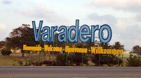 Varadero - Letters on entrance. Varadero (Cuba) - Letters on entrance in the town (resorts zone Stock Image