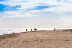 VARADERO MATANZAS, KUBA - MAJ 18, 2017: Sikt av den sandiga stranden Fotografering för Bildbyråer