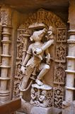 Varaha雕塑,拉妮ki vav内在墙壁,在Saraswati河河岸的一复杂地被修建的stepwell  Patan,古杰雷特, 库存照片