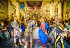 Varallo biblical figures representation presepe of the Sanhedrin trial of Jesus at the Caiaphas tribunal. Biblical figures representation presepe of the royalty free stock images