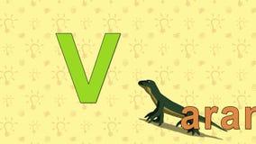 Varan Alfabeto inglés del PARQUE ZOOLÓGICO - letra V ilustración del vector