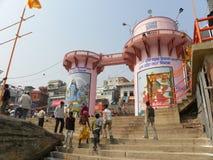 Varanasi, Ουτάρ Πραντές, Ινδία - 1 Νοεμβρίου 2009 δομή κτηρίου σε Rajendra Prasad Ghat Στοκ Φωτογραφίες